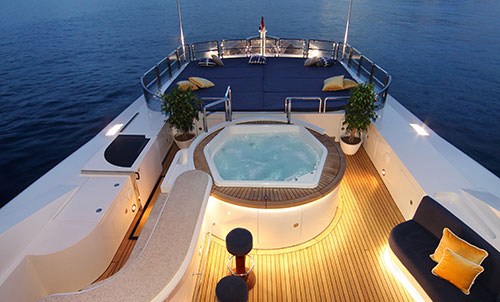 Onboard a luxury yacht