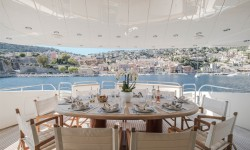 Wine, dine, recline on our superyacht of the month, BEIJA FLORE